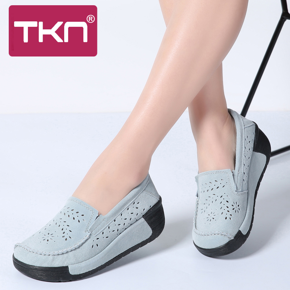 TKN 2019 Spring Women platform Sneakers Thick Soled   Leather     Suede   Cutouts platform creepers sneakers shoes Footwear Women 558-2