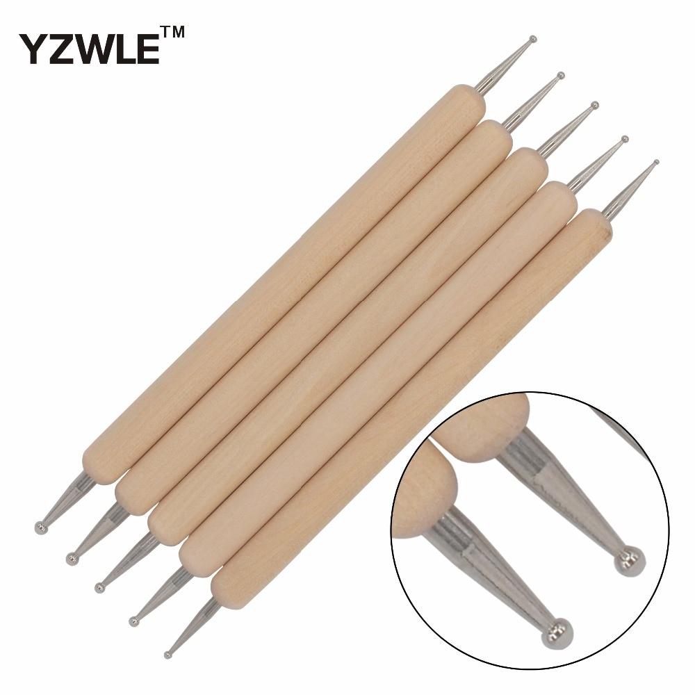 YZWLE 5Pcs/Pack Nail Art Tools Wood Handle Painting Drawing Brush Pen 2 Way Nail Art Dotting Tool 16