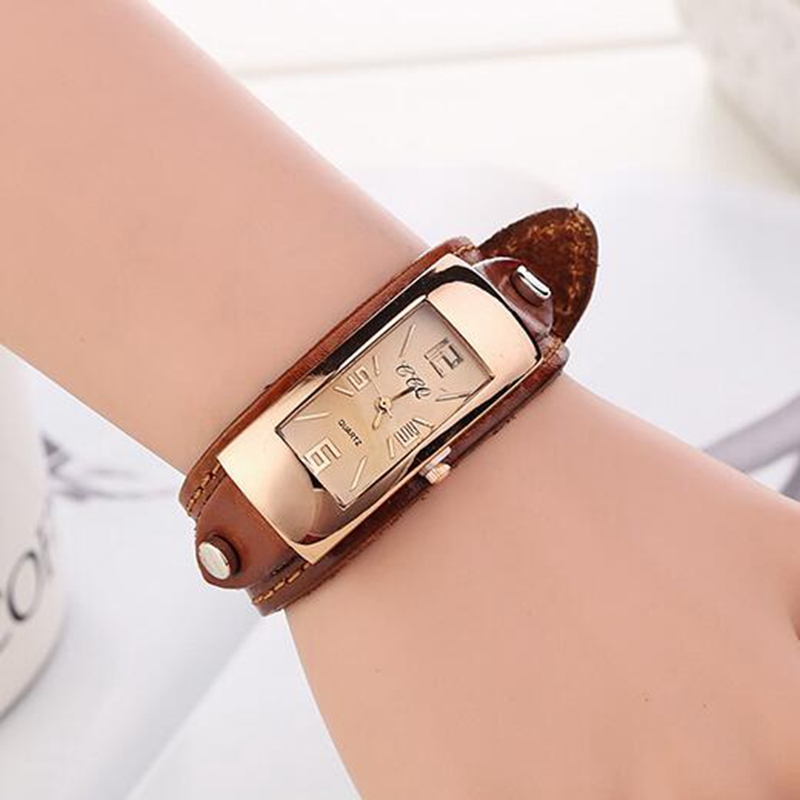 Fashion Vintage Bracelet Watches Women Quartz Watch Leather Casual Dress Wristwatches For Ladies Watch Analog Relojes Mujer 2016 free shipping kezzi women s ladies watch k840 quartz analog ceramic dress wristwatches gifts bracelet casual waterproof relogio