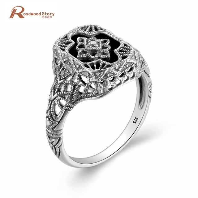 Black Stone Wedding Rings Women Jewelry Soild 925 Silver Rose Austrian  Crystal Engagement Ring Female Anel