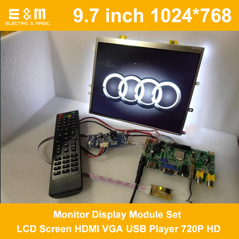 9.7 Inch 1024*768 4:3 Car Monitor Display Module Set LCD Screen HDMI VGA USB Player 720P HD Movie Car Raspberry Pi 3 Xbox
