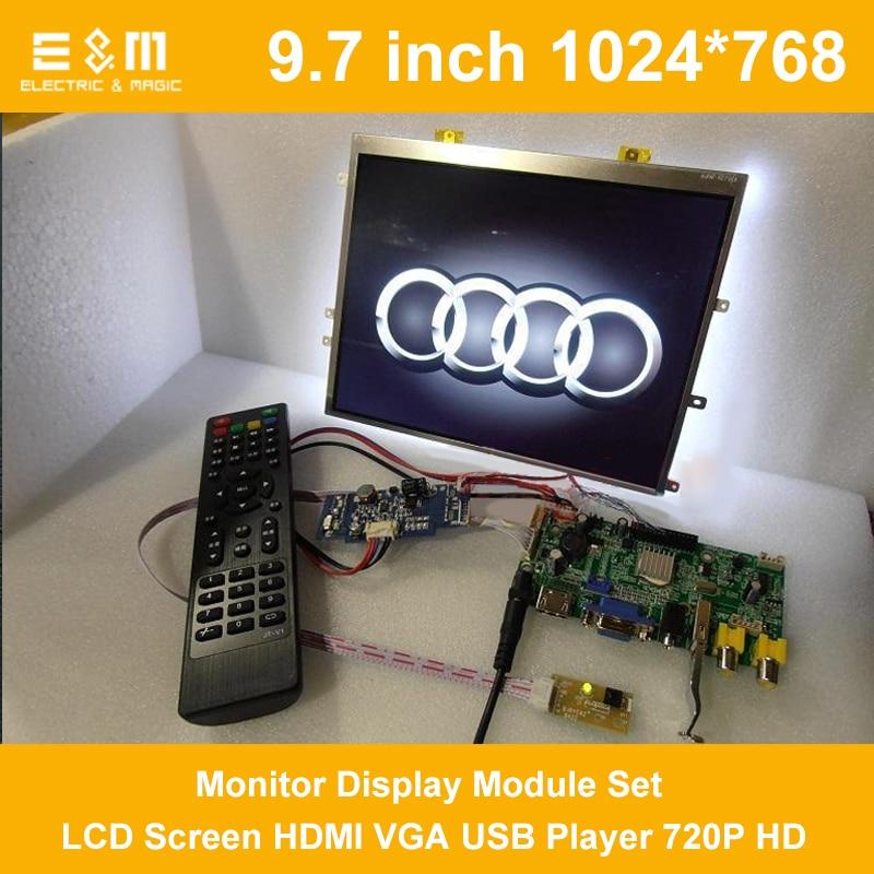9.7 Inch 1024*768 4:3 Car Monitor Display Module Set LCD Screen HDMI VGA USB Player 720P HD Movie Car Raspberry Pi 3 Xbox