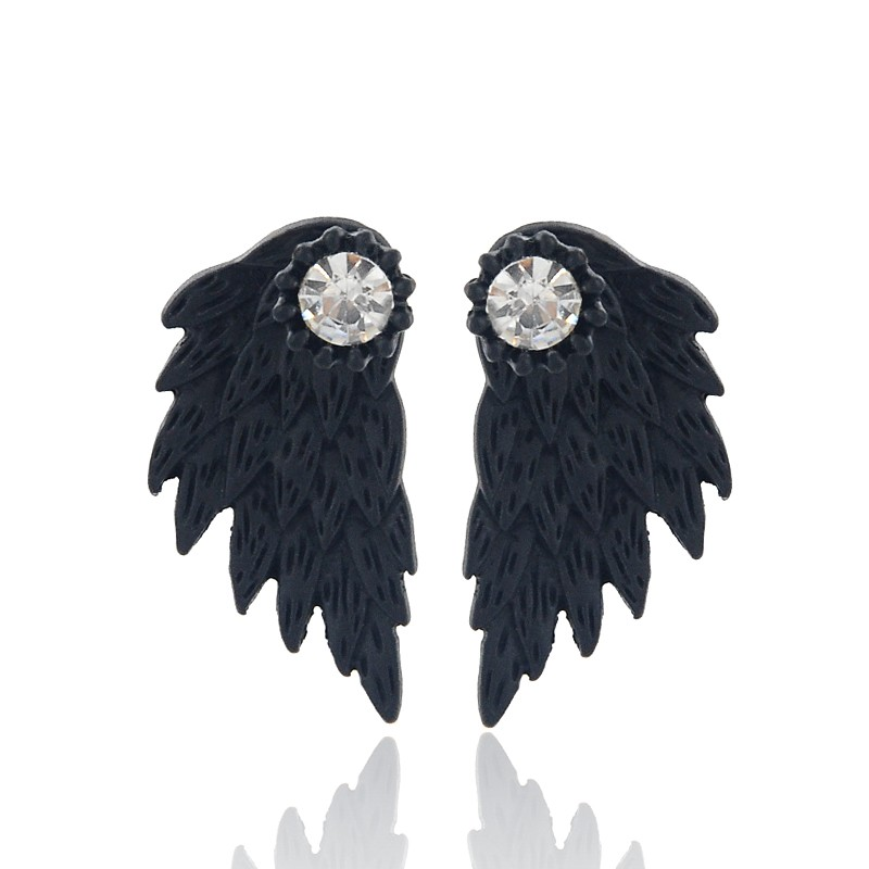 Gothic Silver Color Cool Angel Wings Alloy Stud Earrings Cool Black Feather Earrings for Women Men Fashion Jewelry 5