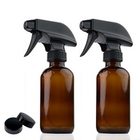 2pcs 8 Oz Amber Glass Spray Bottle With Black Trigger Spray Caps Refillable Containers For Essential
