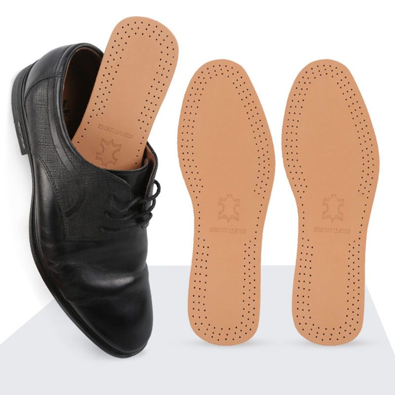 1 Pair Comfortable Imitation Leather Full Pad Men Women Breathable Sweat-Absorbent Latex Insoles Thickening Shock Absorption