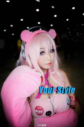 Super Sonico Cosplay Wig Long Straight Hair Wigs Ombre Pink to Silvery Color Synthetic Peruc Perruque Natural