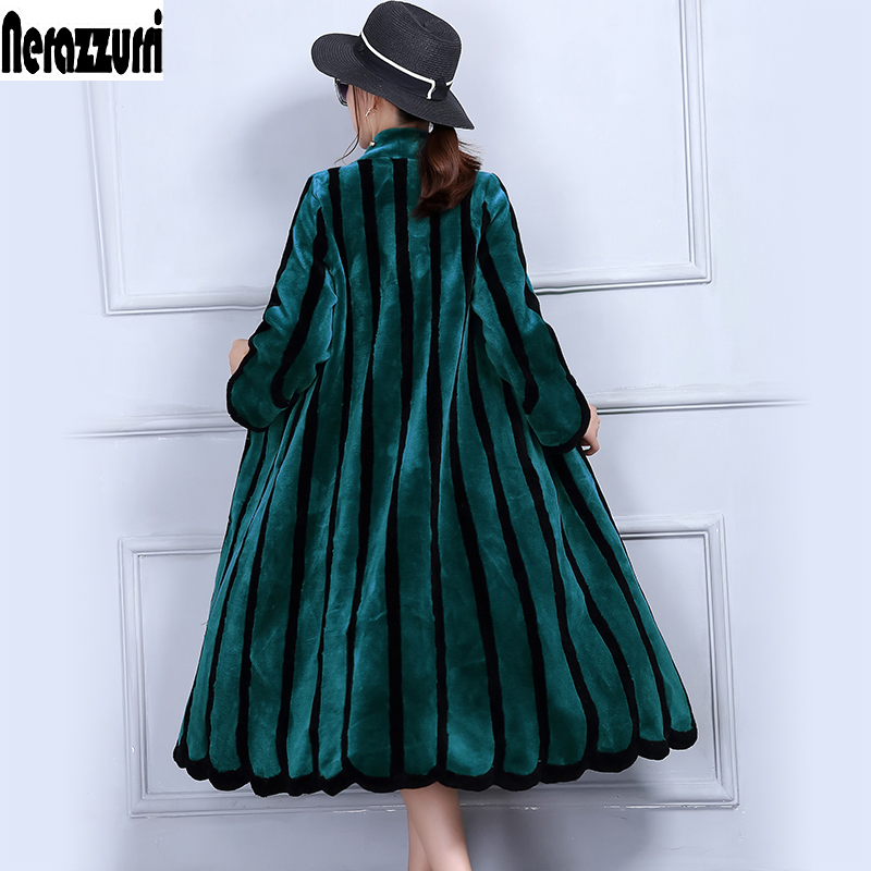 Nerazzurriluxury Real Sheep Fur Coat Women Colored Striped Shearling Coats Plus Size 4xl Xl 6xl 7xl Long Natural Fur Coats Women