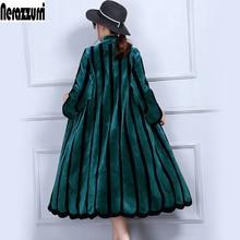 Nerazzurriluxury real sheep fur coat women colored striped s