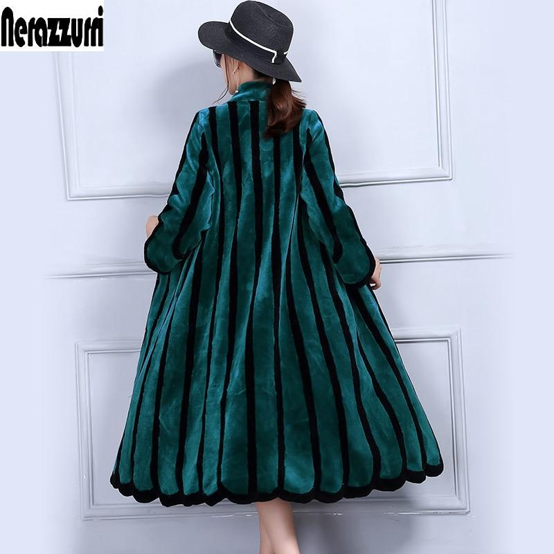 Nerazzurriluxury real casaco de pele de ovelha mulheres de cor listrado casacos shearling plus size 4xl xl 6xl 7xl longo casacos de peles naturais mulheres