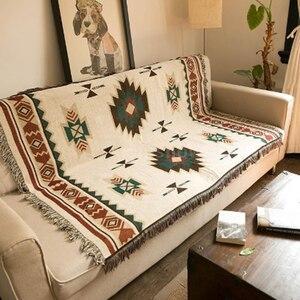 Практичный креативный коврик с геометрическим орнаментом в этническом стиле, винтажный диван с обивкой из гобелены, украшение для дома, пле...
