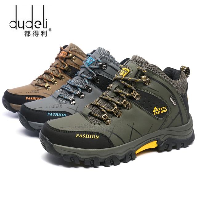 DUDELI 39-47 الرجال الأحذية المضادة للانزلاق أحذية من الجلد الرجال المضادة للانزلاق الربيع الخريف حذاء رجالي حجم كبير 47 الفراء حذاء الثلج عالي الرقبة دافئ