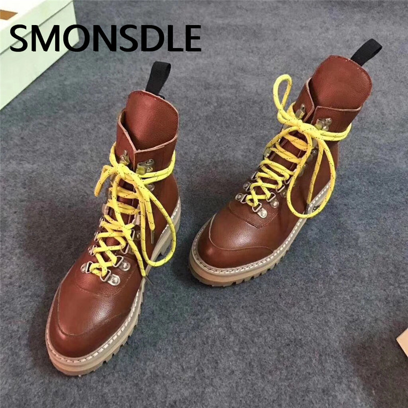 SMONSDLE 2018 New Fashion Black Genuine Leather Women Ankle Boots Round Toe Cross tied Women Autumn Winter Boots Shoes Woman hxrzyz women chelsea boots spring autumn ankle boots woman hot new fashion of genuine leather round toe suede women winter shoes