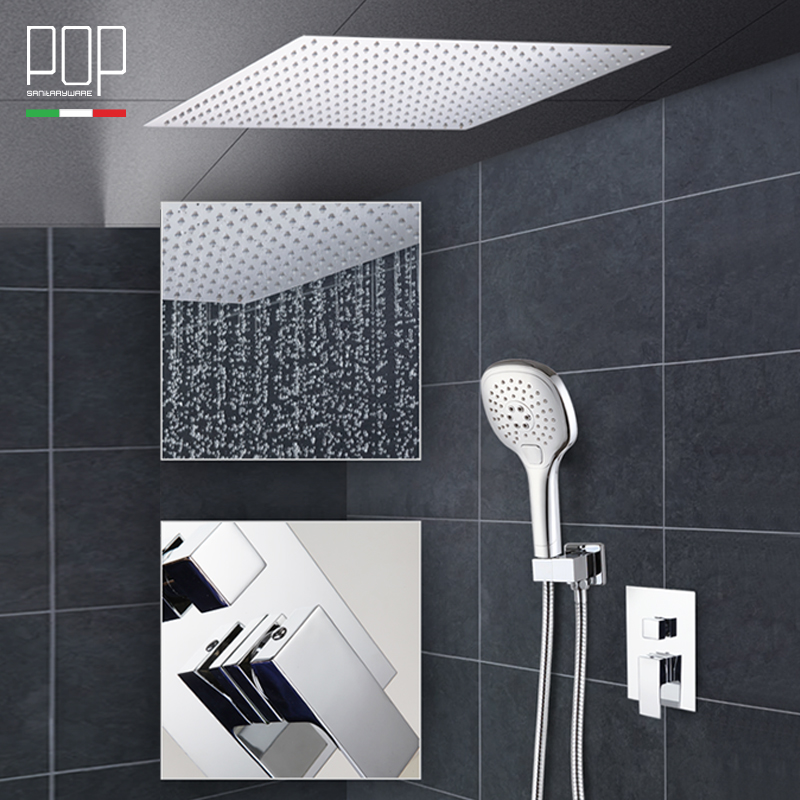 POP Bathroom Luxury Rain Mixer Shower Combo Set Hm 16 Rainfall Head Wall