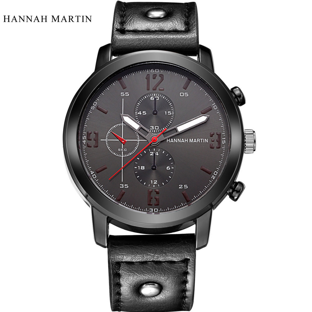 Hannah Martin Mens Watches Top Brand Luxury Fashion Watch Men Watch Leather Strap Waterproof Watches Men Clock bayan kol saati