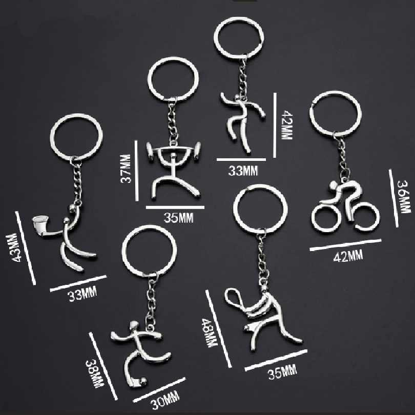 1 pçs criativo metal esportes chaveiro anel bicicleta correndo halterofilismo futebol basquete presente dropshipping