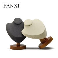 FANXI Cream white&Dark gray Necklace Pendant Display Stand Solid woodwith Microfiber for Jewellery Exhibition Holder Shelf