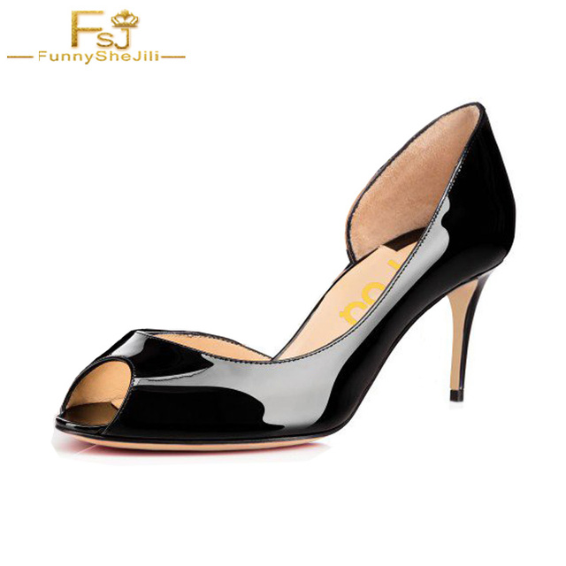8422f32bac7 FSJ Autumn Black Peep Toe Formal Kitten Heels Patent Leather D orsay Pumps  Shoes Office Casual Classics Shoes Woman Thin Heels