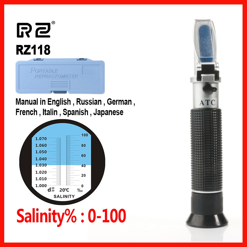 RZ Sea Salinity Refractometer meter salt water concentration Aquarium Handheld tool Mariculture Breeding Gravimeter 0~10%RZ118 10mm black white gray computer tv cable sleeve tidy wire guide tool organizing tube spiral wrapping band spring clamp