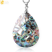 CSJA New Zealand Natural Oyster Paua Abalone Shell Tear Water Drop Necklaces & Pendants Raw Material Charm Jewellery Gifts E857(China)