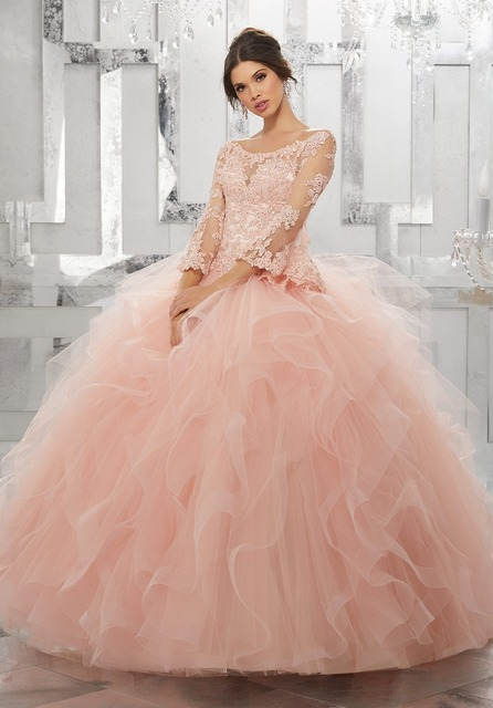3/4 Bell Sleeve Quinceanera Dresses Beading Lace Sweet 16 Dresses Flounced Tulle Party Dresses Light Pink Ball Gown Prom Dresses