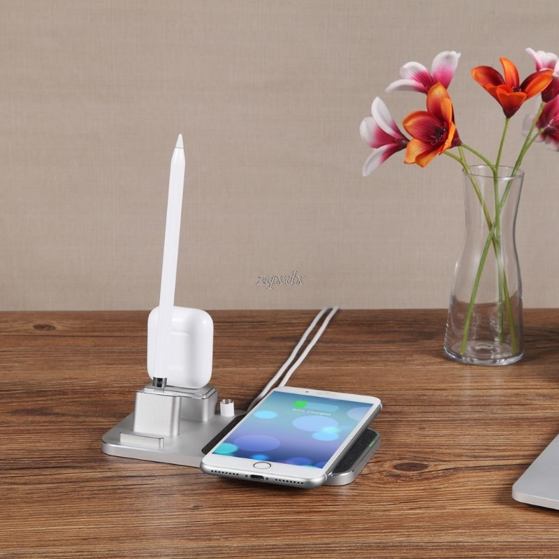 $26.51 Aluminum 4-in-1 10W Qi Wireless Fast Charger Stand Charger for iPhone Max/XS/XR/X/8/8 Plus Samsung Huawei ipad pro Pencil AirPod