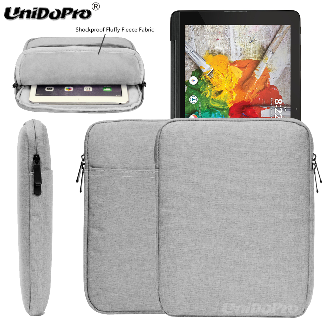 Unidopro New & Casual Waterproof Pouch <font><b>Case</b></font> for LG G Pad 10.1 <font><b>V700</b></font> Tablet Conque Protective Travel Sleeve Zipper Bag Cover image