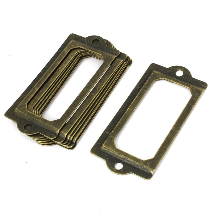 70x33mm antique brass box drawer Label Holders library display ...