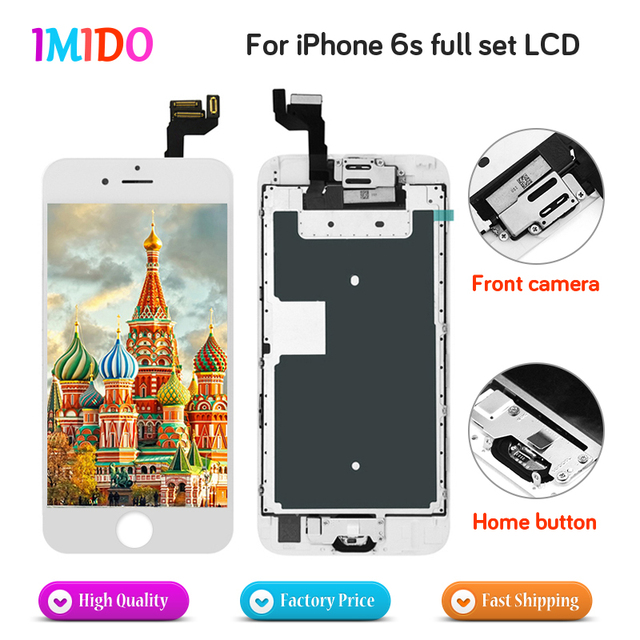 sale retailer 0cc78 67ad1 US $1788.0 |100Pcs Factory Price Full Set LCD Display For iPhone 6s LCD  Display Home button+Front camera+3D Touch Screen Digitizer Assembly -in  Mobile ...