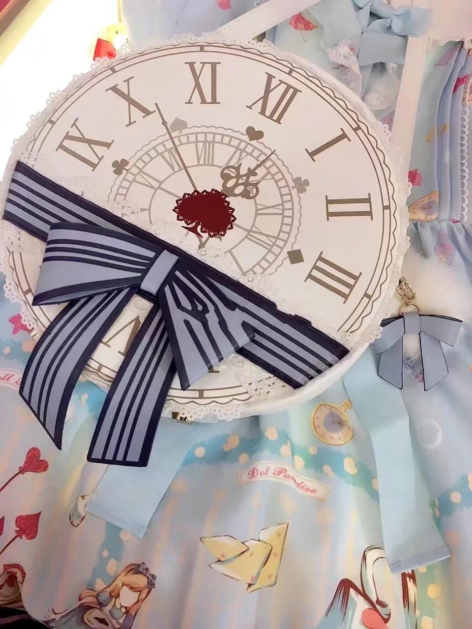 Princess sweet lolita bag Japanese soft sister bag and clock printing exquisite lace round Satchel Bag fashion women SD022 цена 2017