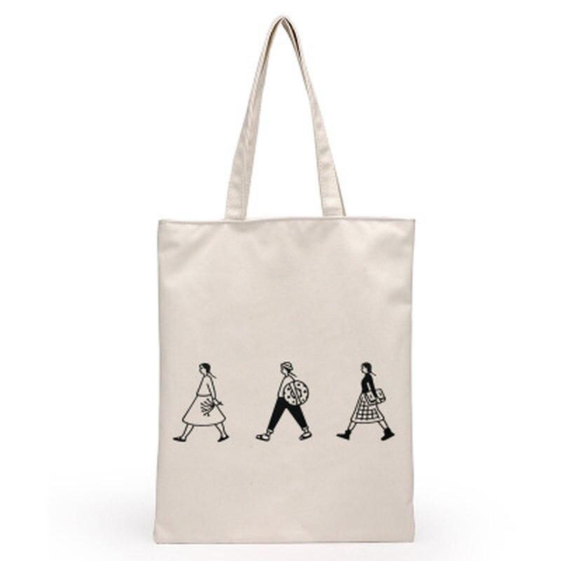 2019レディース布キャンバストートバッグ手作りコットンショッピング旅行女性折りたたみショルダーショッピングショッパーバッグbolsas de telaトートバッグ