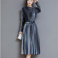 Fashion Autumn Winter Women Dress Elegant Sexy Pleate Female Dress Vintage Long Sleeve Velvet Two piece suit Dresses vestidos