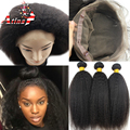 360 Lace Virgin Hair with Bundles 7A Brazilian Kinky Straight 360 Frontal Human Hair Weave 360 Lace Frontal Closure With Bundles