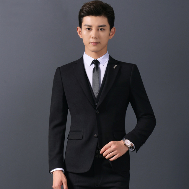 Jbersee chaqueta + Pantalones mens azul oscuro y Negro hombres traje túnica partido  boda Trajes para 910e6c8d6df