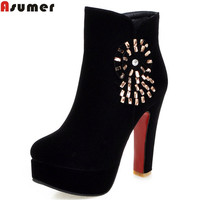ASUMER 2017 Autumn Winter New Arrive Women Boots Fashion Zipper Flock Crystal Ankle Boots Black Red