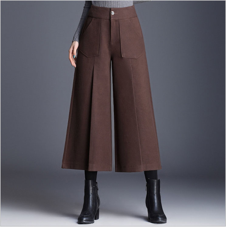 Pierna Alta gris El Pantalones Ancha Primavera Oscuro De Y Nuevo Temperamento La Negro Otoño 2019 marrón Cintura 7zvZnn4w