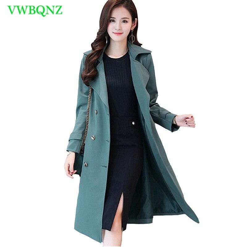 Plus size Windbreaker Coat Women Spring Autumn Loose Long   Trench   Coats Women's Splice High quality Add Cotton Overcoat 5XL A127