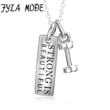 Fyla Mode 925 Sterling Silver Necklace with Strong Is Beautiful Tag and Dumbbell Pendant Hot Selling Jewelry for Women Men