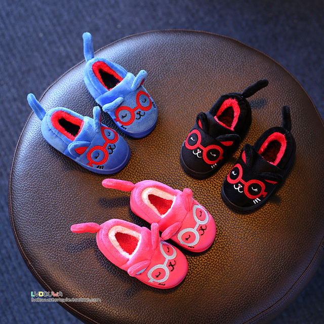YNB Size 4.5-8.5 Winter Kids Slippers Home Soft Cotton Warm Slipper for Boys & Girls 4 Colors Children Indoor Slippers