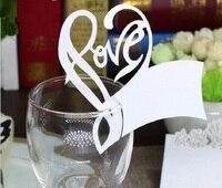 100 قطع الساخن الجوف الحب القلب شكل ورقة مكان بطاقة مرافقة بطاقة بطاقة كأس النبيذ الزجاج ورقة لل زفاف الاسمية عرس الحسنات
