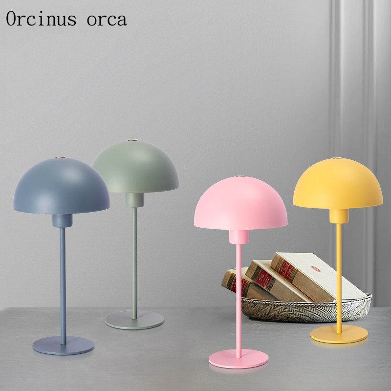Nordic fashion personality candy table lamp, living room study bedroom bedside lamp modern minimalist creative iron desk lamp modern minimalist table lamp american creative wood iron lamp bedside lamp bedroom desk lamp