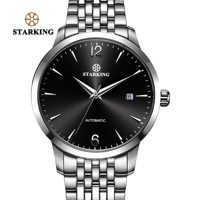 Старкинг люксовый бренд Полностью Автоматическая наручные часы водонепроницаемые нержавеющей стали мужские часы с позолотой AM0194