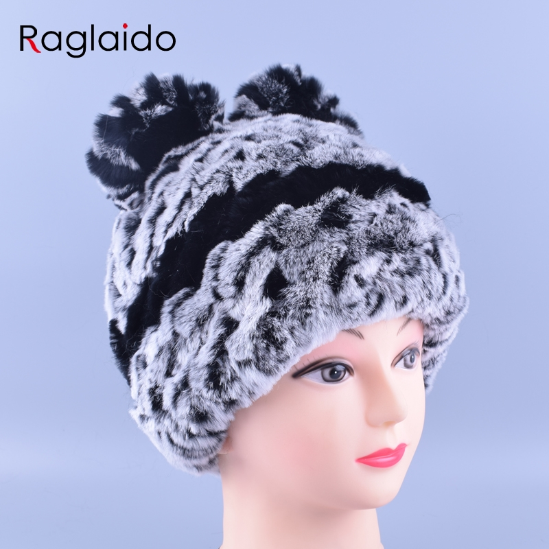 Raglaido Winter Hat for Children with Ears Rabbit Fur Hats for Women Real Rex Fur Caps Fashion Winter Skullies Beanies LQ11148 браслеты