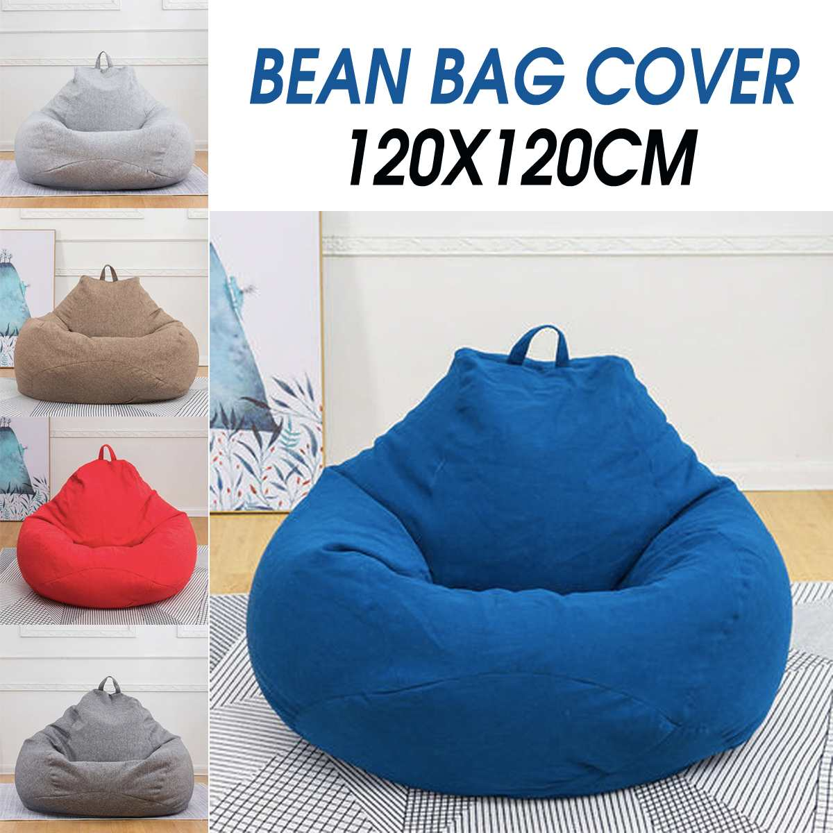 US $24.03 43% OFF|120cm Super Large Bean Bag Sofa Chair Cover Lounger  Ottoman Seat Living Room Furniture Beanbag Bed Pouf Puff Couch Lazy  Tatami-in ...