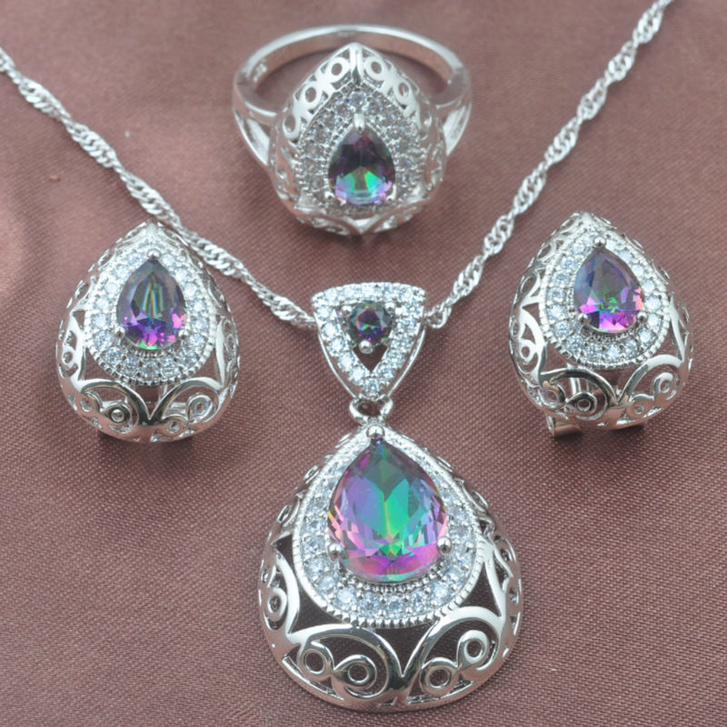 Unique Multicolor Rainbow Zircon Women's 925 Sterling Silver Jewelry Sets Necklace Pendant Earrings Ring Free Shipping TZ0215