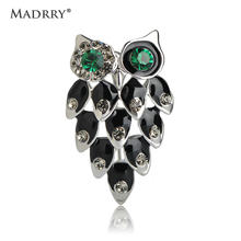 Madrry Cute Enamel Esmalte Mini Owl Brooches Rhinestone Crystals Oro color Women Broches Scarf Hat Sweater Hijab Pins Spille(China)