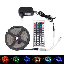 DC 12V RGB LED Strip Light RGB Waterproof Diode Tape 5M 10M 15M 20M 2835 RGB LED Strip Ribbon DC 12V Adapter IR Led Remote Set