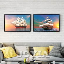 Sailing Ship Canvas Painting Modern Wall Decoration Vast Sea Sunrise Seascape Posters and Prints Wall Pictures for Room Office