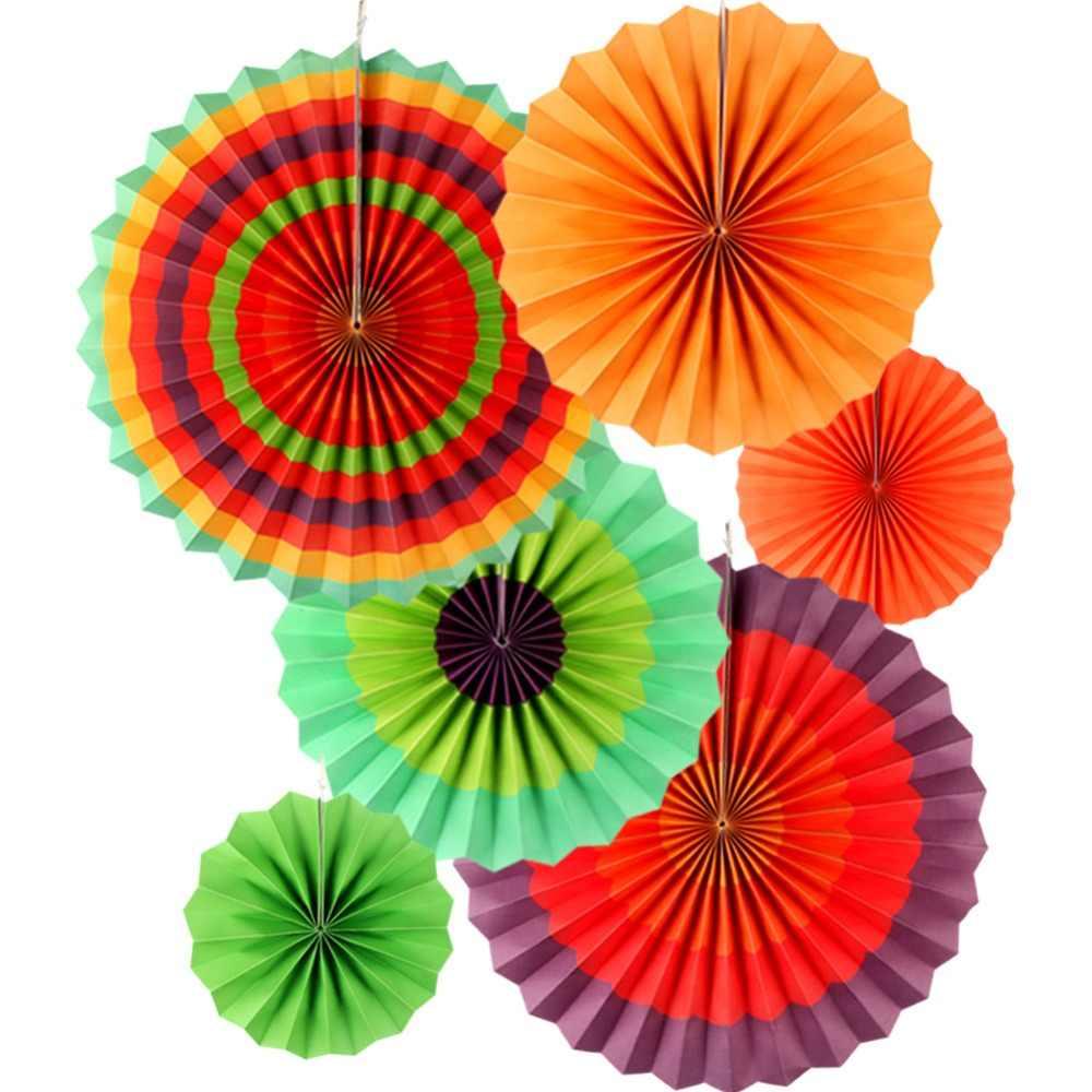 OurWarm 6pcs Ventilador De Papel Flores Festa Mexicana Pendurado Decoração Do Jardim Decoração Leques De Papel para Decorações Do Partido Do Casamento Do País