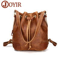 JOYIR New Designer Fashion Crazy Horse Brown Genuine Leather Backpacks Woman Vintage Style Women String Backpack