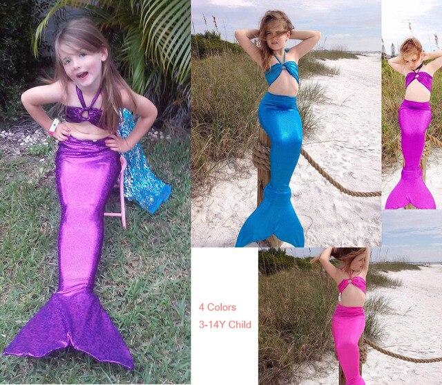 Swimmable Nàng Tiên Cá Đuôi Trang Phục The Little Mermaid Costume Cho các Cô Gái Para Nadar Ariel Cosplay Quần Áo Mermaid Tails Cho Bơi